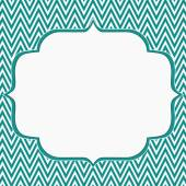 Teal and White Chevron Zigzag Frame Background — Stock Photo