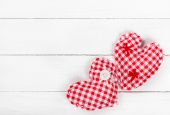 Two fabric heart for Valentines day — Stock Photo