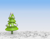 3d christmas tree with snow and blue background. — Stock Photo