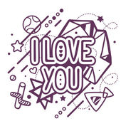 Black and white I love you quote — Stock Vector