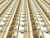 Stacks of money. Two hundred euros. — Stock Photo