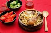 Pilaf with dates, figs and chicken  — Stock Photo