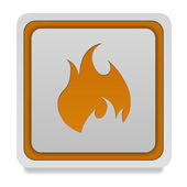 Fire square icon on white background — Stock Photo