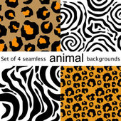 Four animal seamless patterns. Leopard, zebra, tiger, jaguar. — Stock Vector