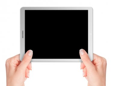 Modern computer tablet with blank background