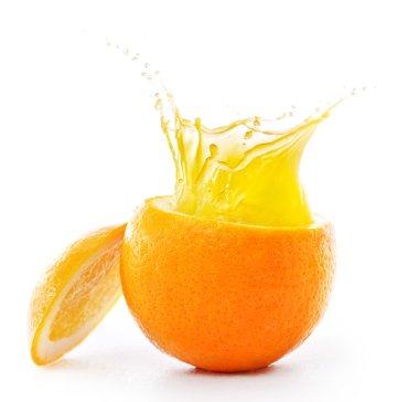 Orange and splashes of juice. Isolated on white background stock vector