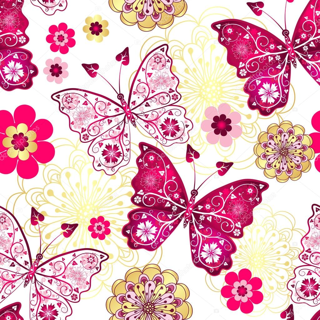 Seamless Pattern With Vintage Butterflies Stock Vector Olgadrozd