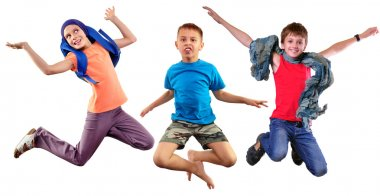 isolated full length group portrait of running  and jumping children