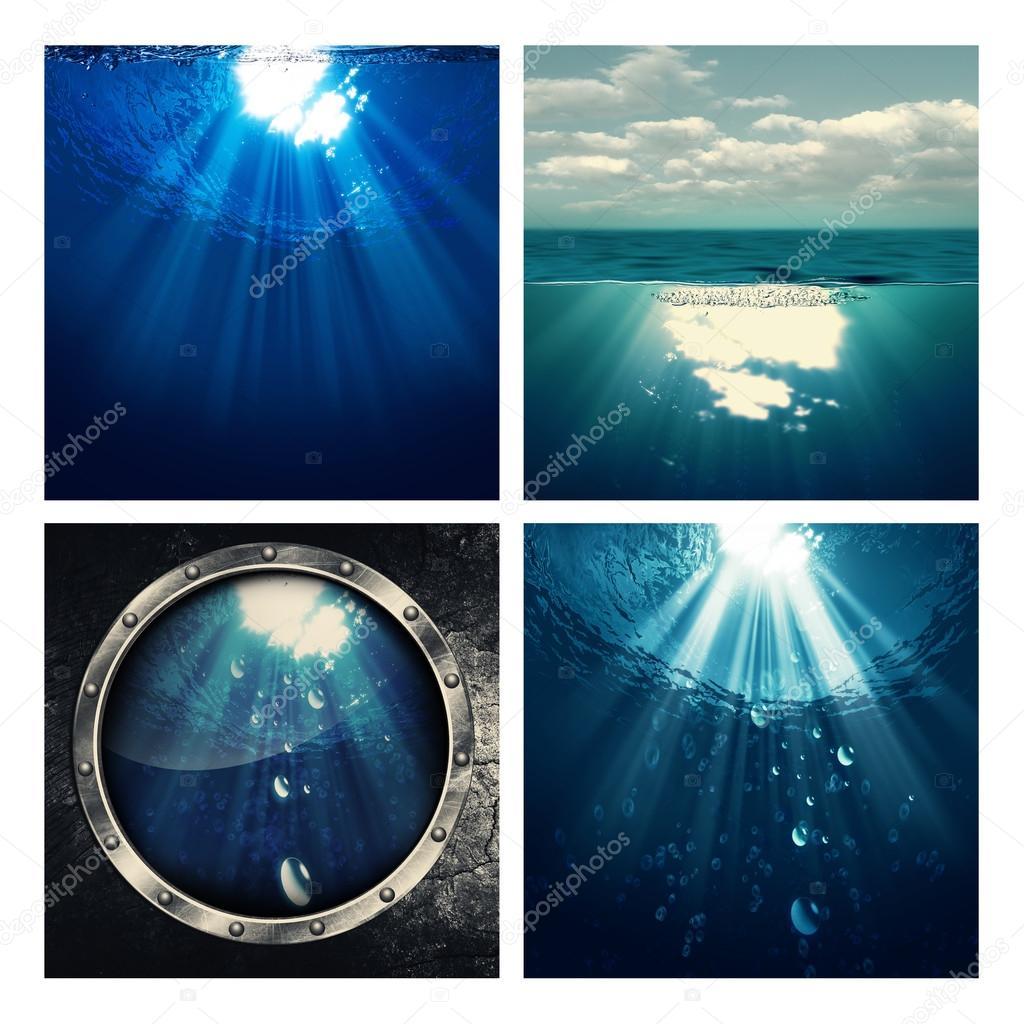 Set of marine backgrounds