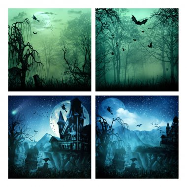 Set of assorted spooky backgrounds