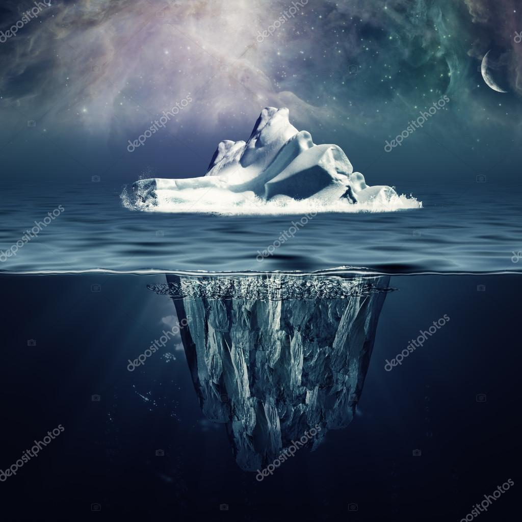 Iceberg in the ocean under beautiful northern sky