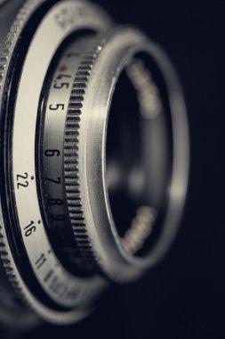 Retro lens, abstract techno background stock vector