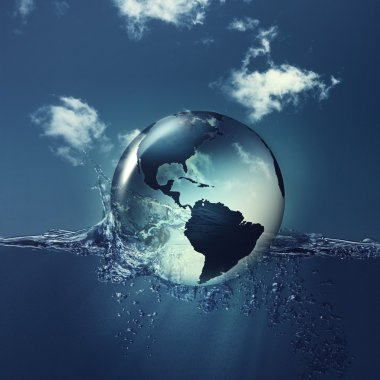 Earth globe on the water waves