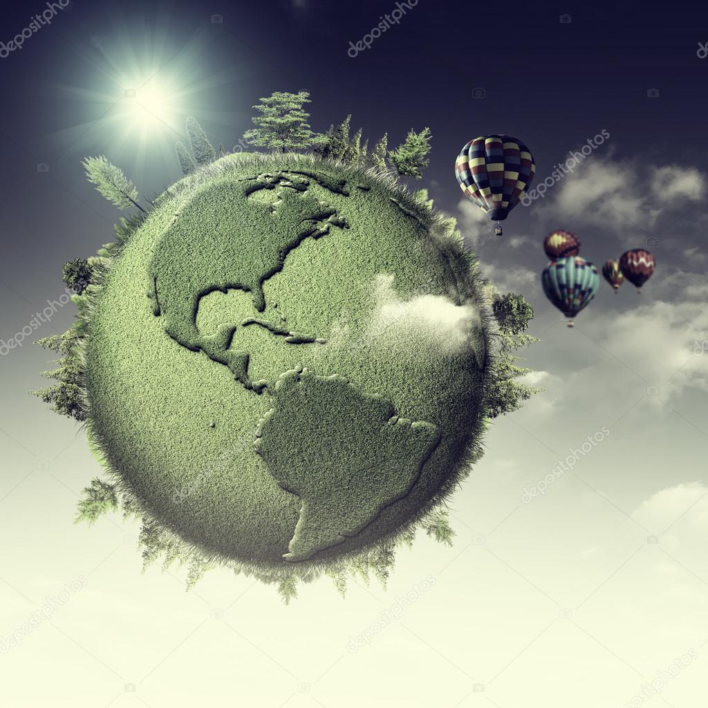hot air balloons and Earth globe