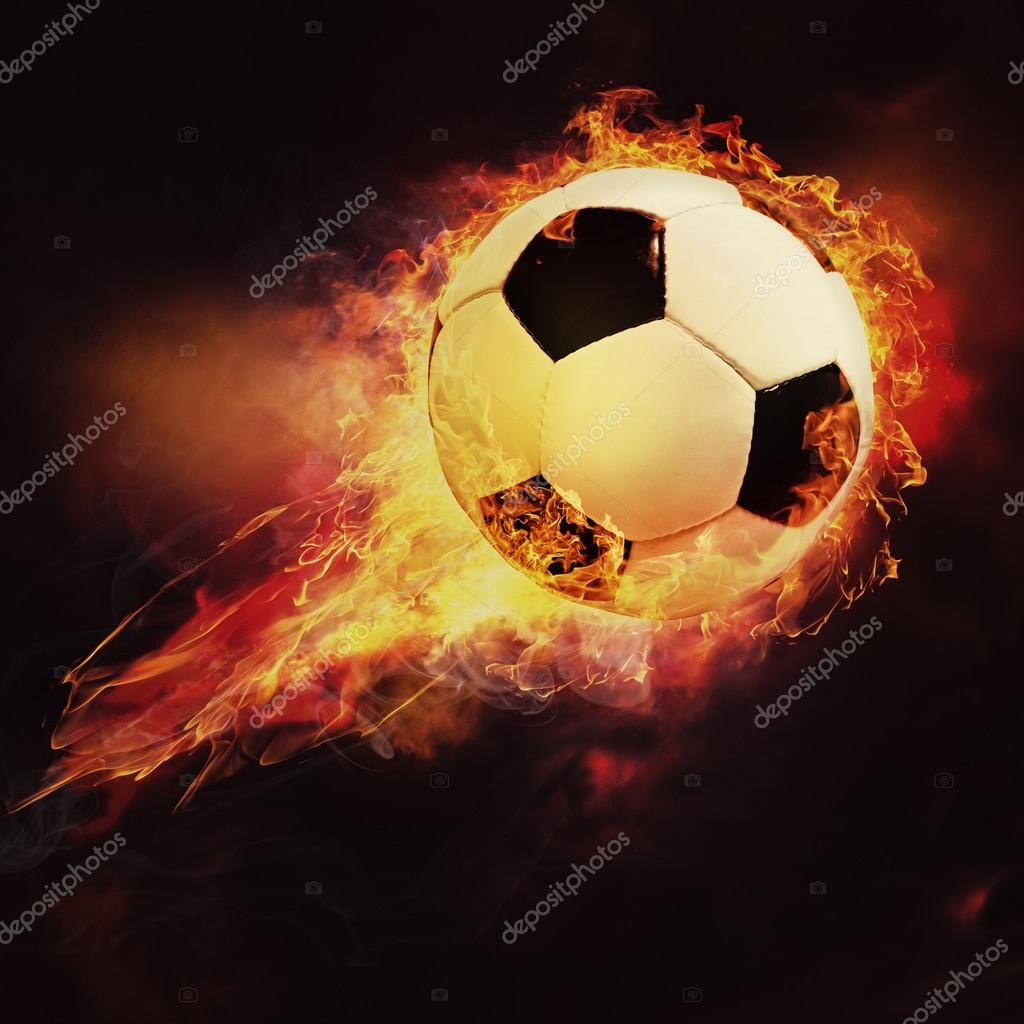Depositphotos 85901796 stock photo fire ball sport soccer background