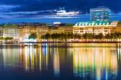 Fotografie Nachtansicht von Hamburg, Deutschland