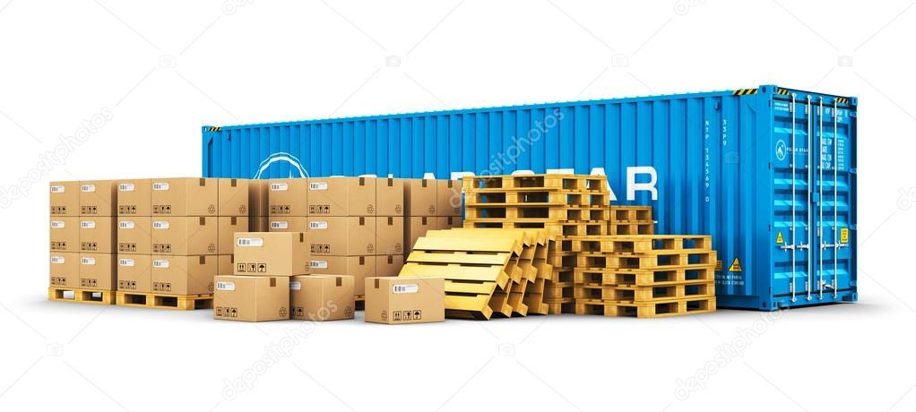Contenedor de 40 pies de carga y transporte de palets con - Pallets por contenedor ...