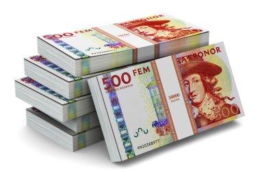 Stacks of 500 Swedish krones