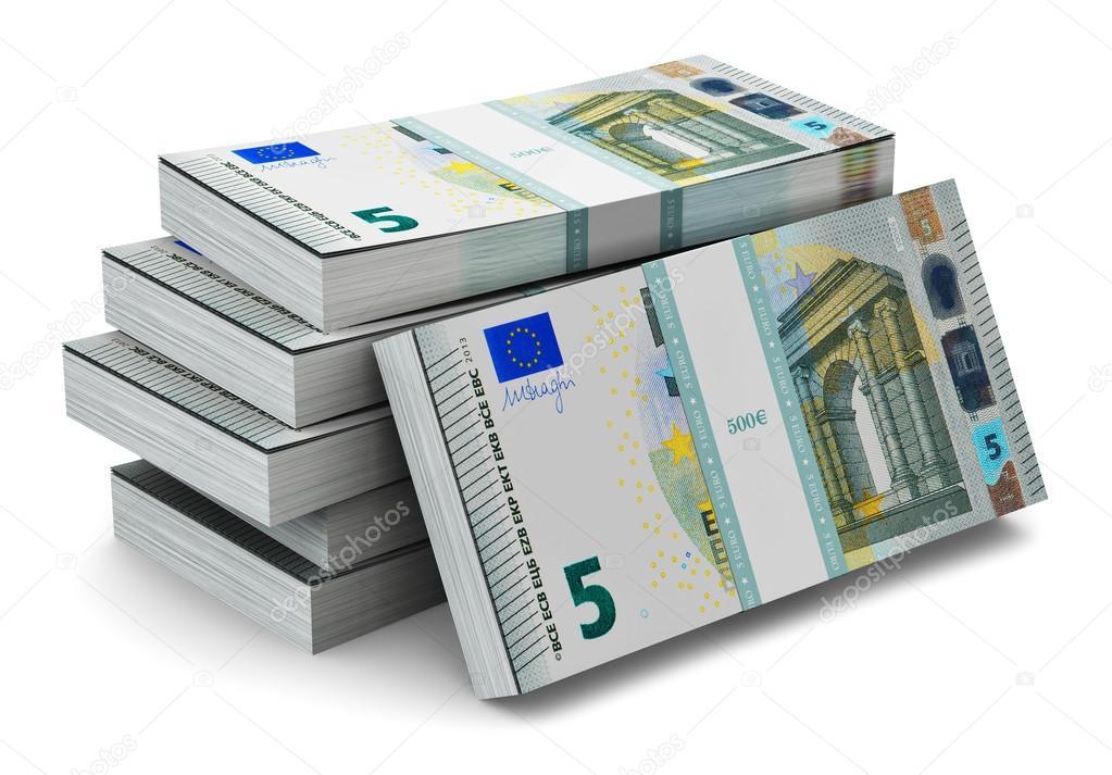 fajos de billetes de 5 euros foto de stock scanrail. Black Bedroom Furniture Sets. Home Design Ideas