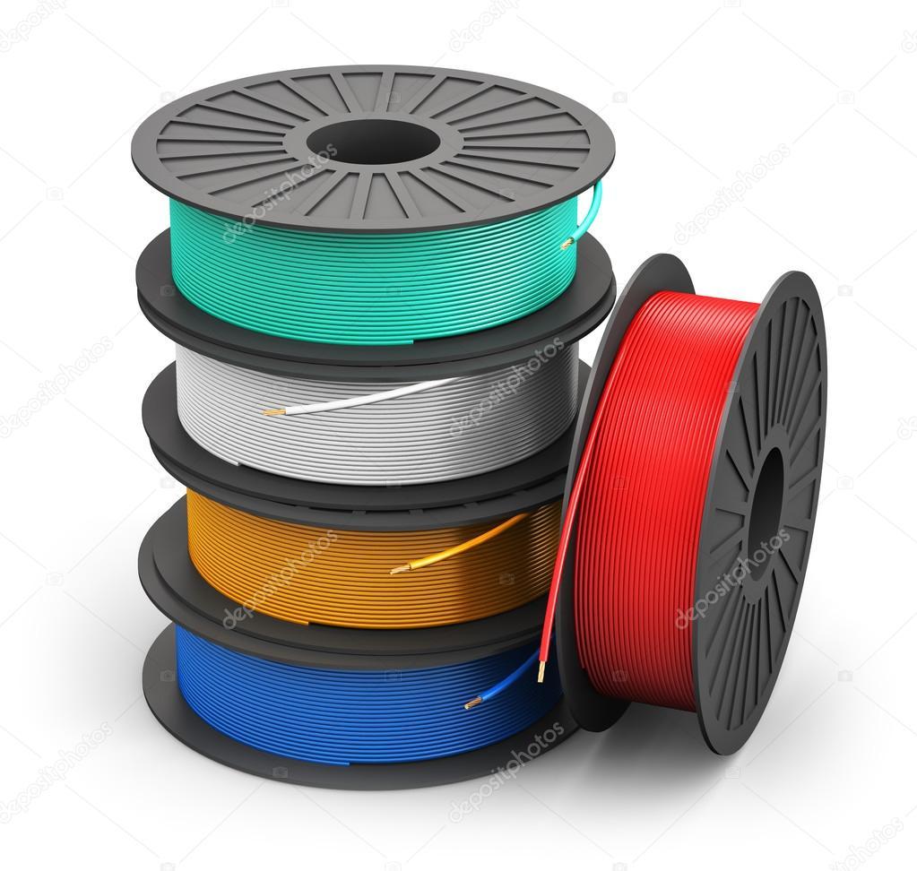 Spulen mit Farbe Stromkabel — Stockfoto © scanrail #52982315