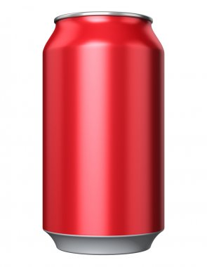 Red metal drink can
