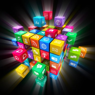Mobile applications and media technology concept