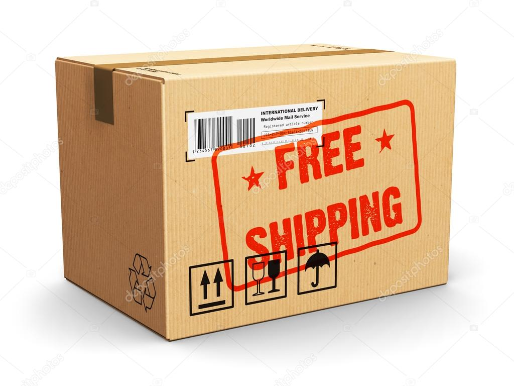 Cardboard box with free shipping stamp stock photo scanrail creative abstract shipment logistics and retail parcel goods delivery commercial business concept corrugated cardboard package box with free shipping text reheart Image collections
