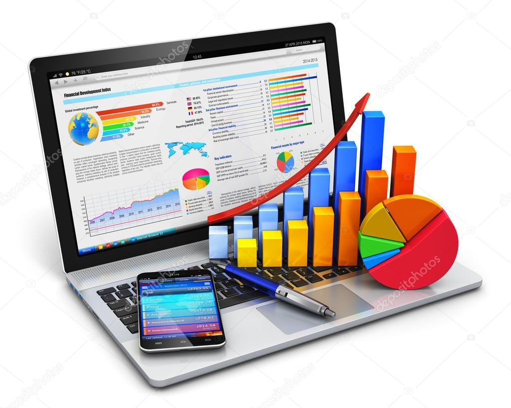 Negcios finanas e contabilidade conceito stock photo scanrail development and banking business concept modern laptop or notebook computer pc with stock market application software growth bar chart pie diagram ccuart Image collections