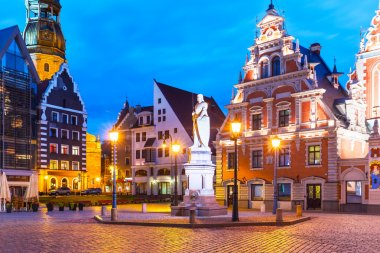 Evening scenery of the Old Town Hall Square in Riga, Latvia