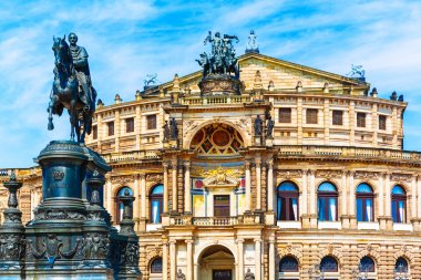 Semper Opera House and Monument to King John in Dresden, Germany