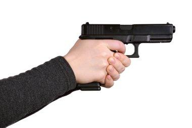 Female hands aiming gun