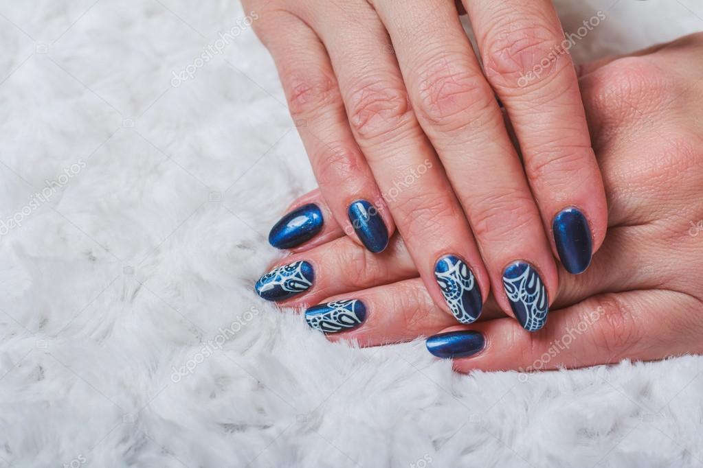 Blue Nail Art With White Lace Stock Photo Selora 102865626