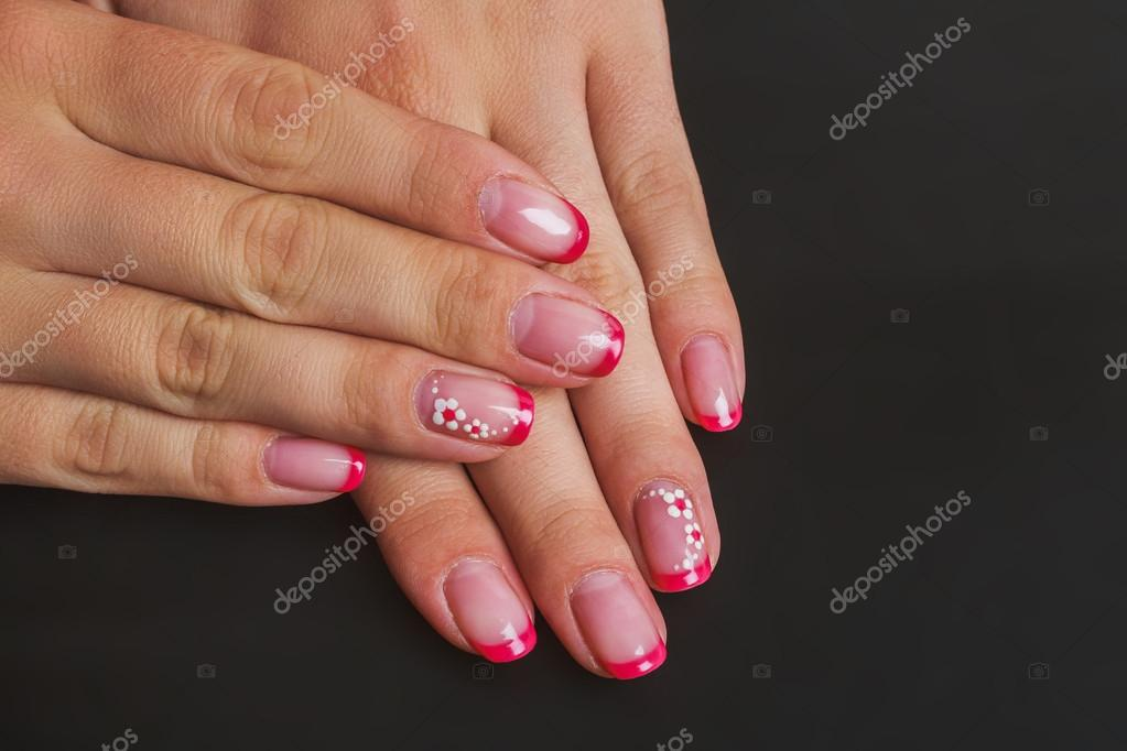 Red French Nail Art With Flower Stock Photo Selora 103468470