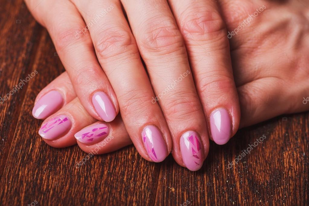 Light Pink Nail Art On Wooden Background Stock Photo Selora