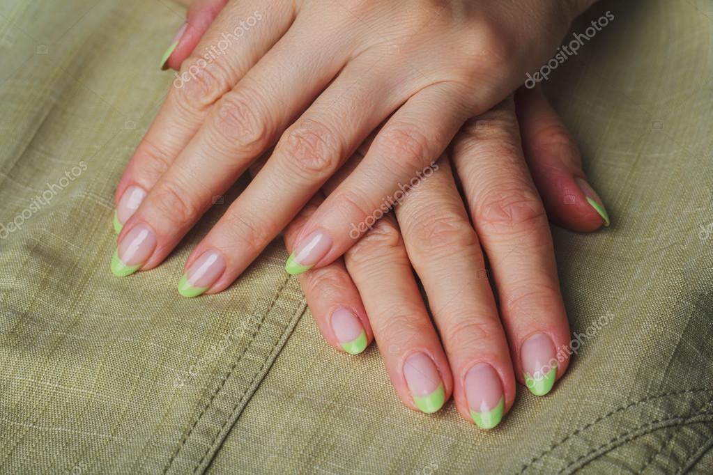 French Nail Art In Light Green Colour Stock Photo Selora 81122738