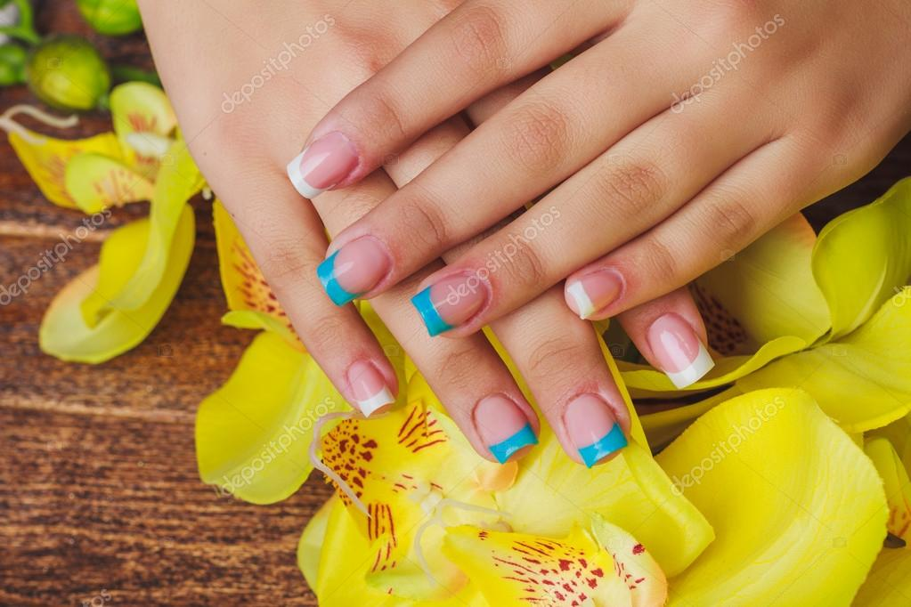 French Nail Art In Light Blue And White Color Stock Photo Selora