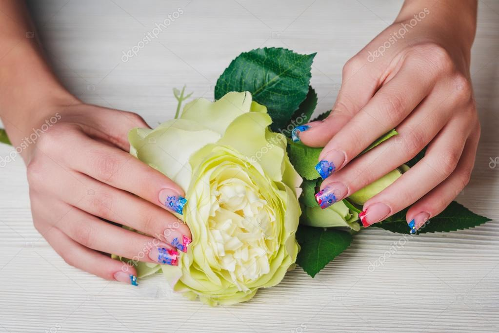 French Nail Art On Wooden Background Stock Photo Selora 91904898