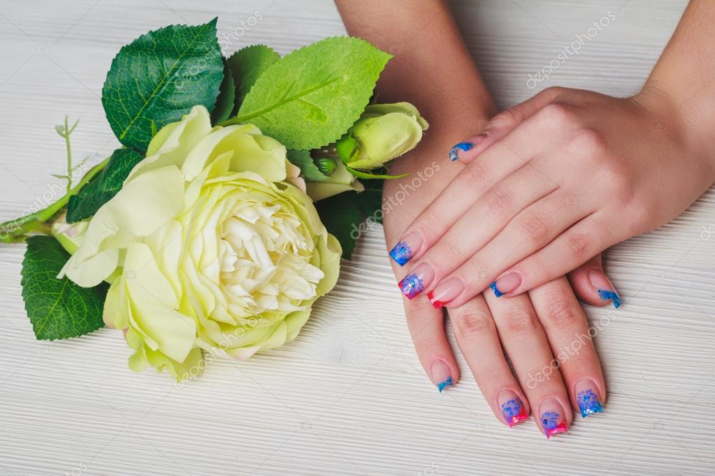 French Nail Art On Wooden Background Stock Photo Selora 91904904