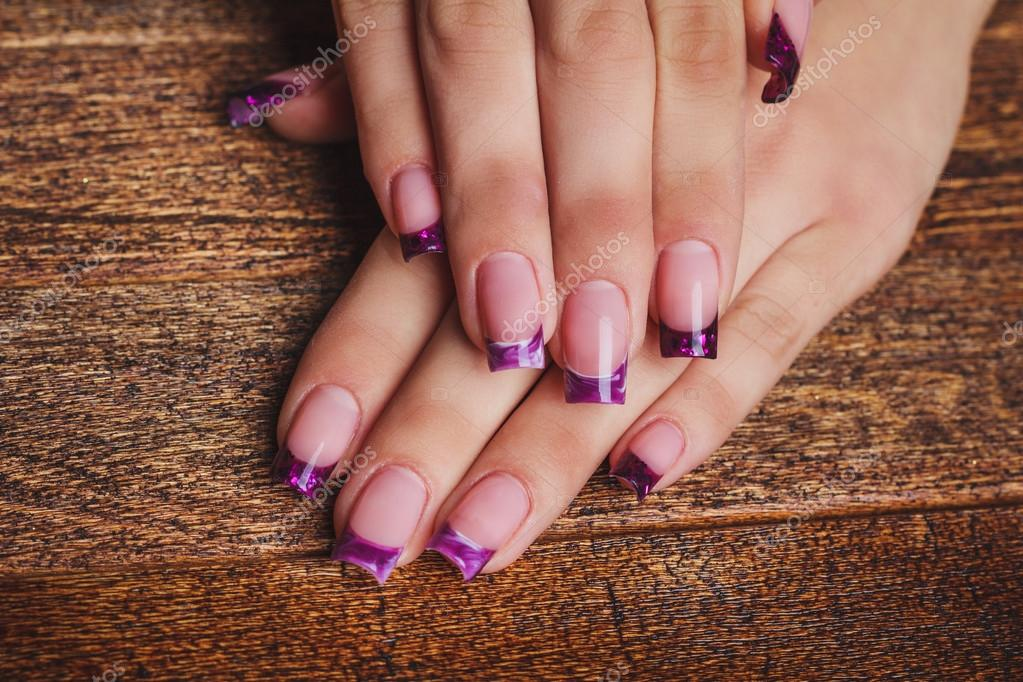 French Nail Art In Purple Color Stock Photo Selora 91905094