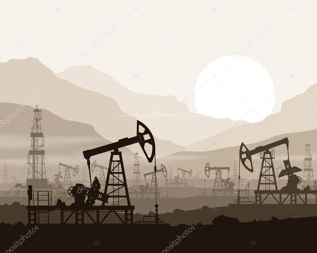 Oil pumps and rigs at oilfield