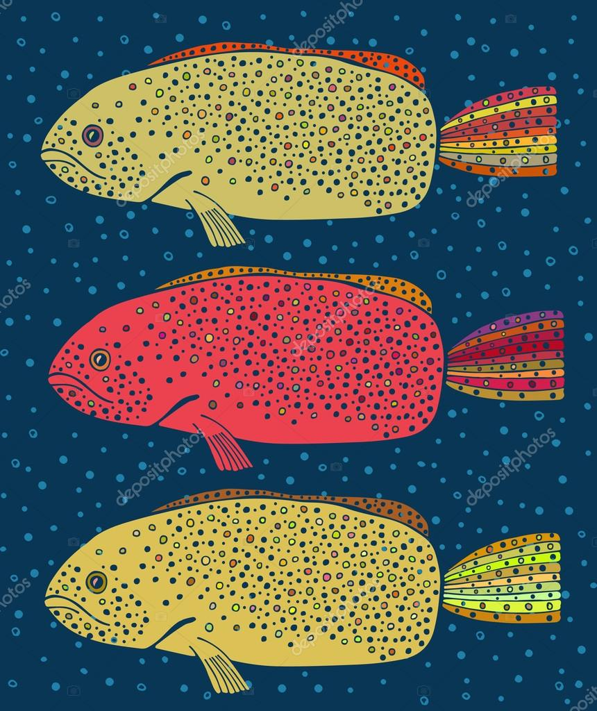 Set of three colored fish — Stock Vector © gigiodesign #98004950