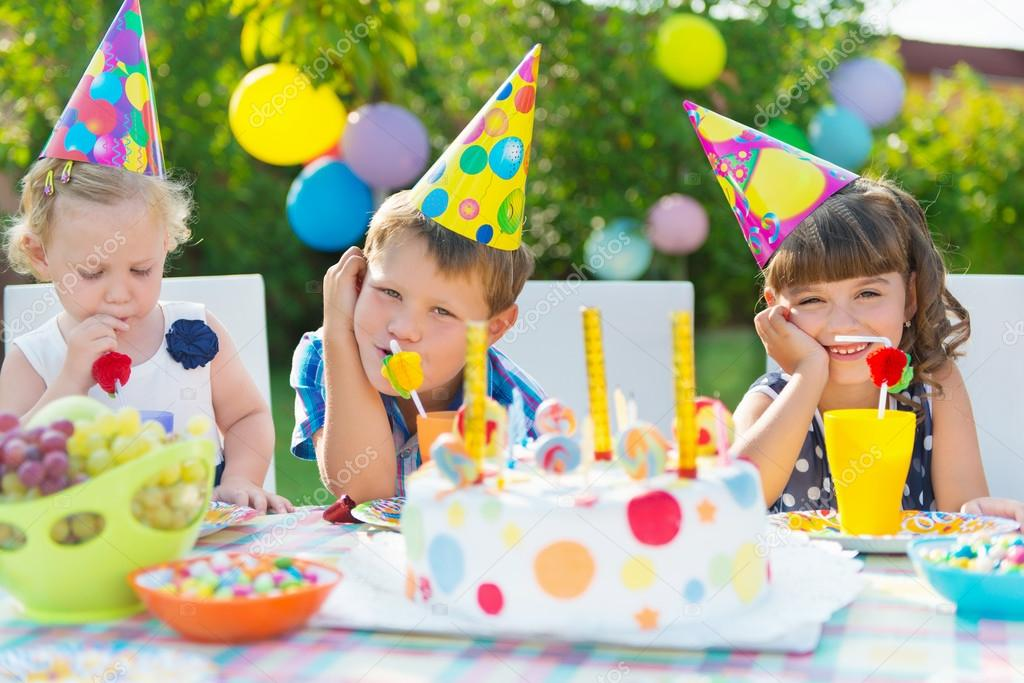 Outdoor Birthday Party For Children Stock Photo Petrograd99