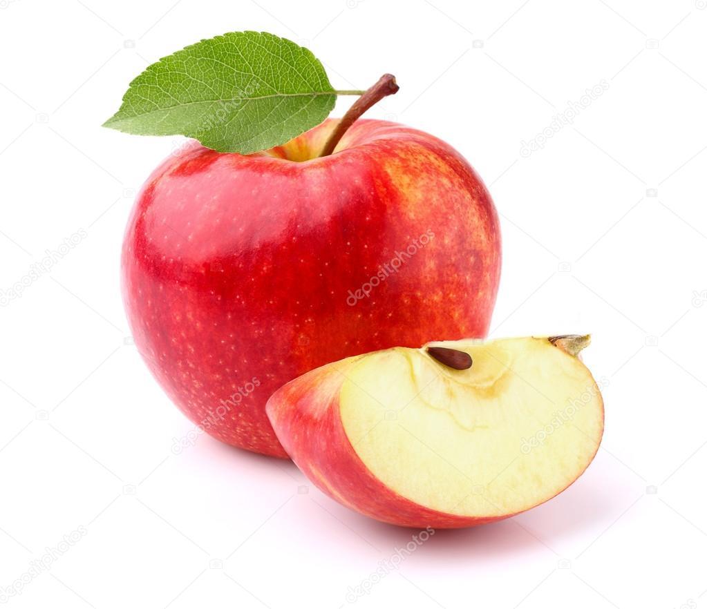 red apple slice. apple with slice \u2014 photo by dionisvera red