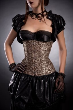 Beautiful young woman in Victorian style outfit and rose corset