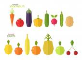 Sada nízké poly ovoce a zeleniny
