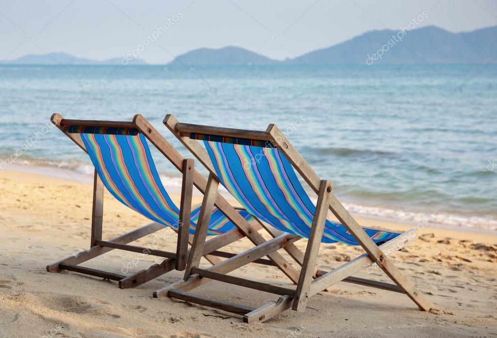 Two Beach Chairs On Tropical Beach U2014 Stock Photo
