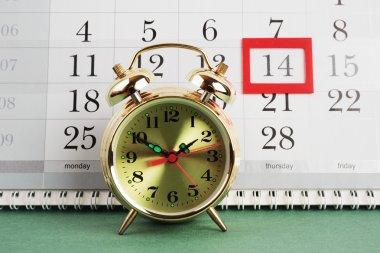 Alarm clock and calendar, February 14 stock vector