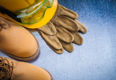 boots, leather gloves hard hat