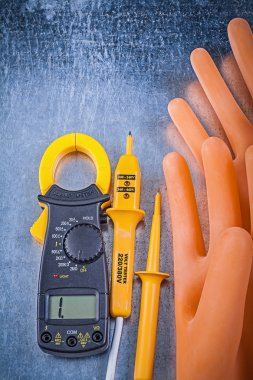 Digital ammeter, electric tester and gloves