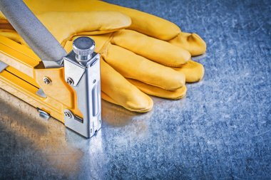 Yellow leather safety gloves